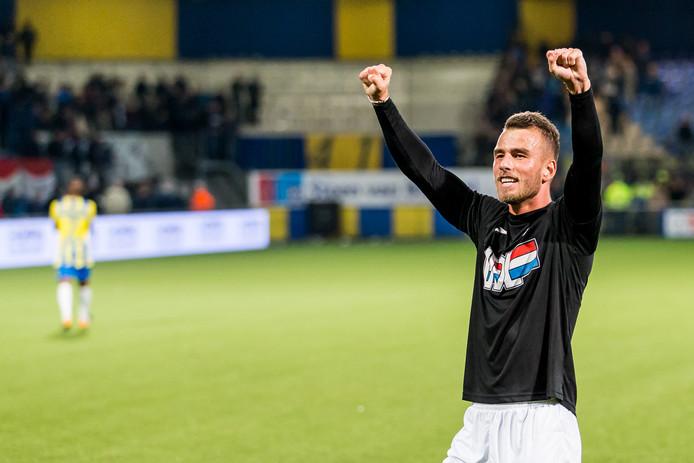 In het shirt van FC Eindhoven, vorig seizoen. Hij droeg het Eindhovense shirt ruim 80 keer.