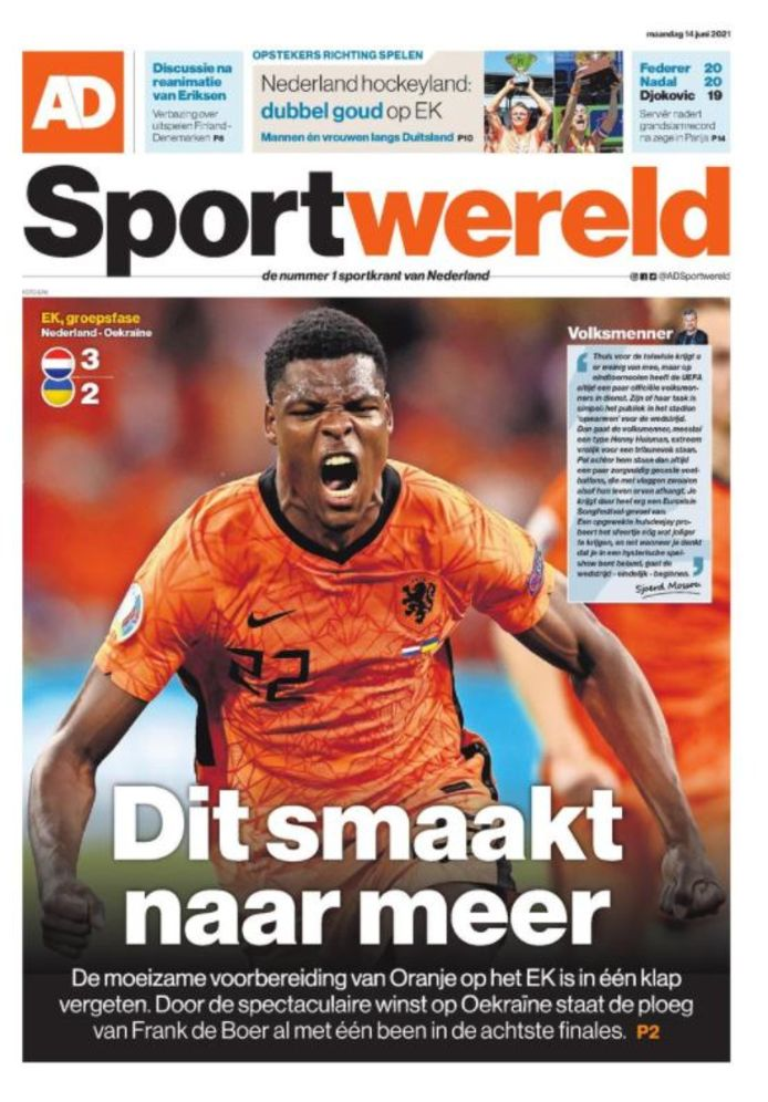 De voorpagina van de sportkatern van het Algemeen Dagblad.
