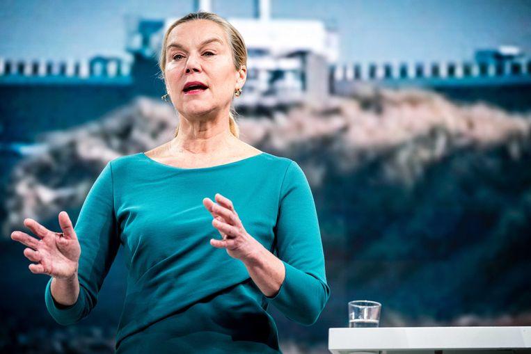 D66-lijsttrekker Sigrid Kaag op een eerdere verkiezingsbijeenkomst.  Beeld ANP