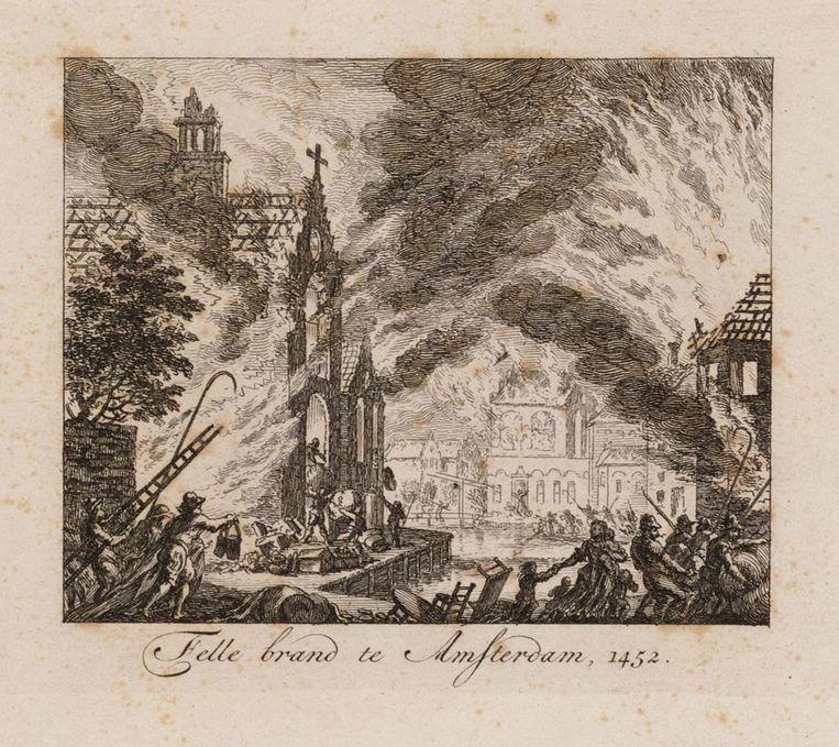 Prent uit 1782, van Simon Fokke, van de grote brand van 1452. Beeld Stadsarchief