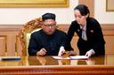 Noord-Koreaans leider Kim Jong-un, met zijn zus Kim Yo-jong.