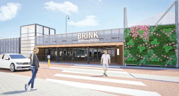 De nieuwe aanblik van de entree voor voetgangers tot de Brinkgarage aan de kant van de binnenstad.
