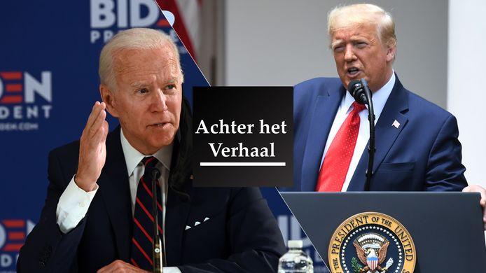 Joe Biden (l) en Donald Trump.
