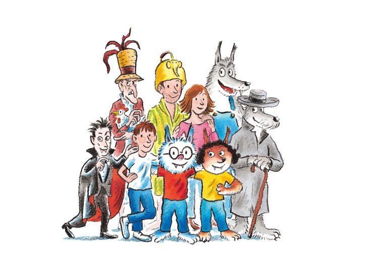 dolfje met familie en vrienden  Beeld Uitgeverij Leopold © illustratie: Hugo van Look