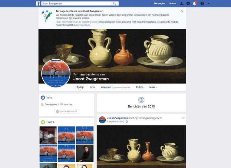 De Facebookpagina van Joost Zwagerman, een account met herdenkinsstatus.  Beeld