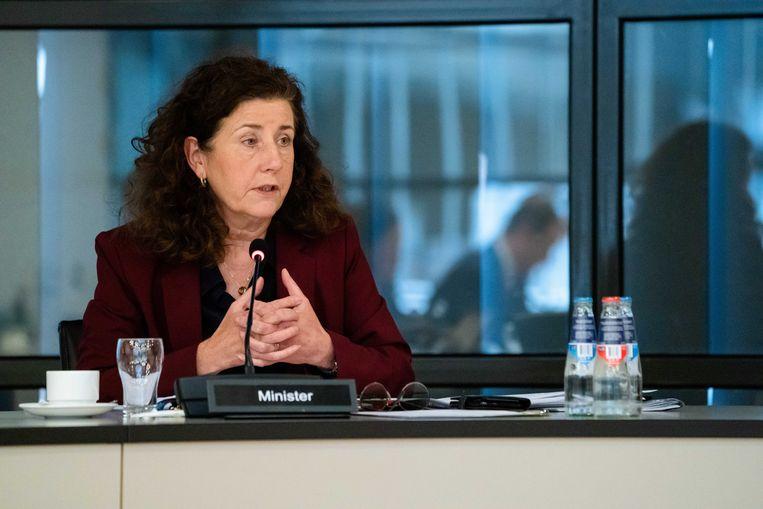 Minister Ingrid van Engelshoven (Cultuur) tijdens het debat in de Tweede Kamer over de impact van de coronacrisis op de cultuursector.  Beeld ANP/Bart Maat