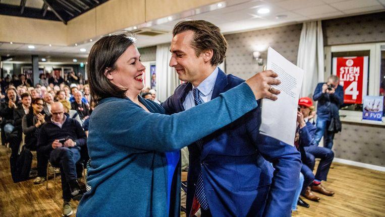 Lijsttrekker Annabel Nanninga met partijleider Thierry Baudet van FvD Beeld ANP