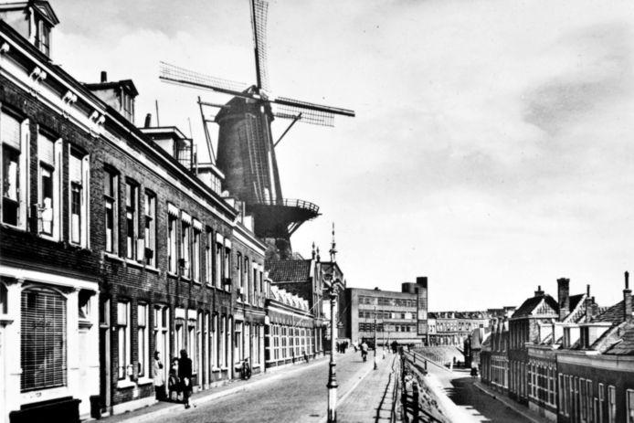 De Kijck over den (Noorden)Dijck omstreeks 1940, met in de verte de elektriciteitscentrale. De bebouwing links en rechts is gesloopt.