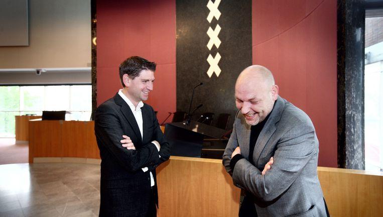 D66-leider Jan Paternotte (links) met Rutger Groot Wassink van GroenLinks Beeld Jean-Pierre Jans