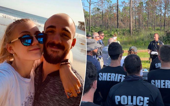 Gabe Pettito e Brian Laundry all'inizio dell'anno scorso.  A destra è una foto condivisa dal dipartimento di polizia di North Port alla ricerca dell'uomo.