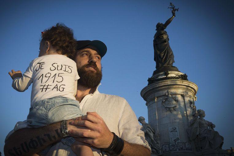 Herdenking in Parijs, donderdagavond. Beeld AFP
