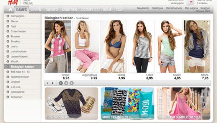 Op de website van H&M kan je al volop kiezen uit het biologisch katoen assortiment. Beeld H&M.com Beeld