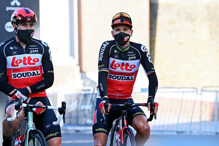 Philippe Gilbert bij de start van Gent-Wevelgem zondag. Al vroeg in de race zal hij afhaken. Beeld Photo News