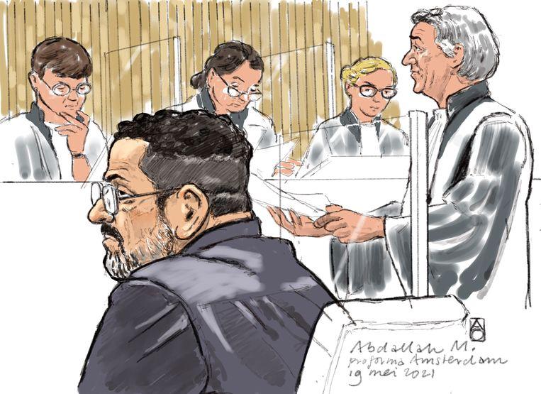 Rechtbanktekening van verdachte Abdallah M. Beeld Hollandse Hoogte / Aloys Oosterwijk
