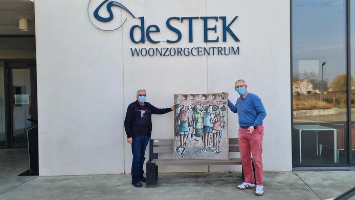 Schilderij als dank voor WZC De Stek