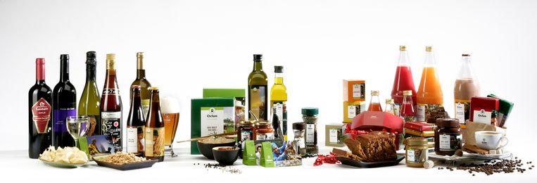 Een deel van het gamma van de fairtrade producten.