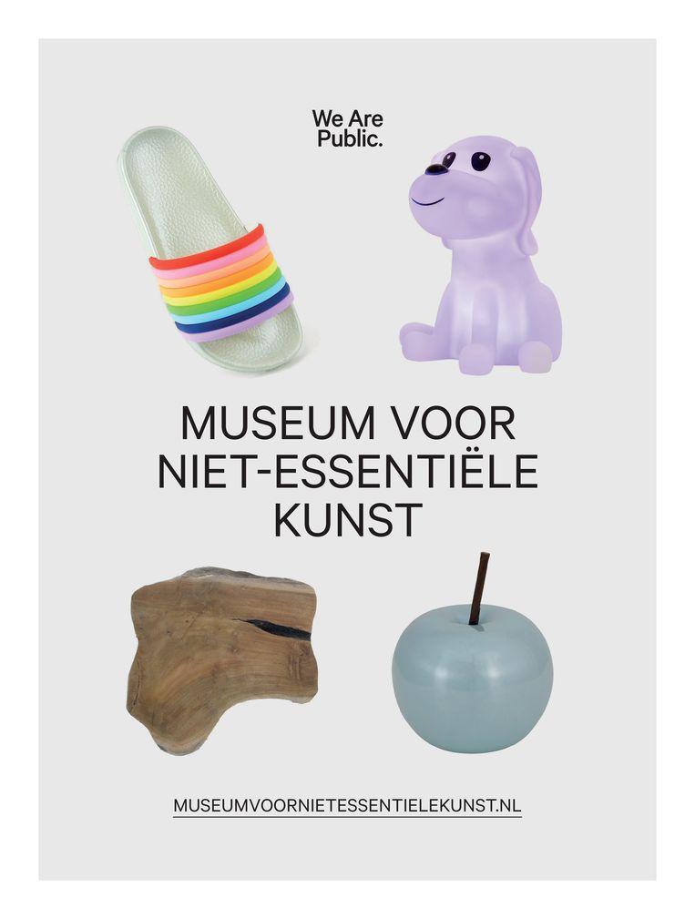 Vanaf woensdag te zien in het 'museum': low budget trofeeën op sokkels, gekocht in net heropende niet-essentiële winkels.  Beeld -