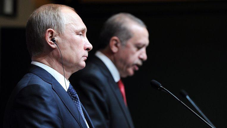 Archiefbeeld van Poetin en Erdogan. Beeld EPA