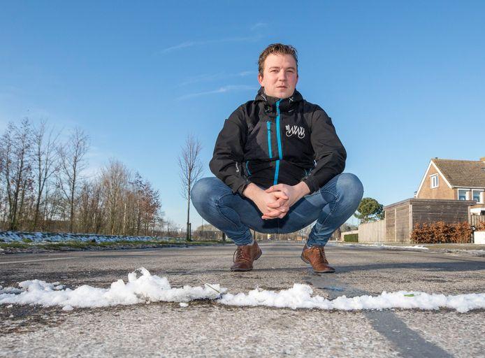 Nu ligt er nog een lijn van sneeuw, maar in juli staat Davy Gunst op deze plek aan de echte finishlijn van de Omloop van Yerseke.