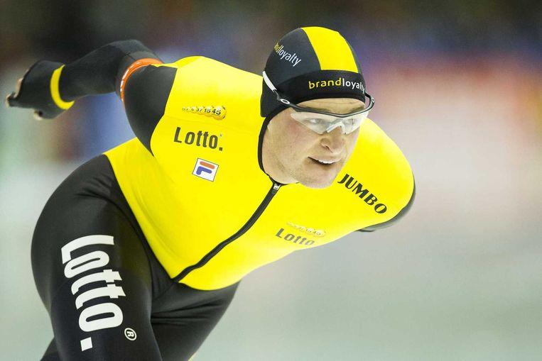 Sven Kramer in actie tijdens de 10.000 meter tijdens de NK afstanden. Beeld anp