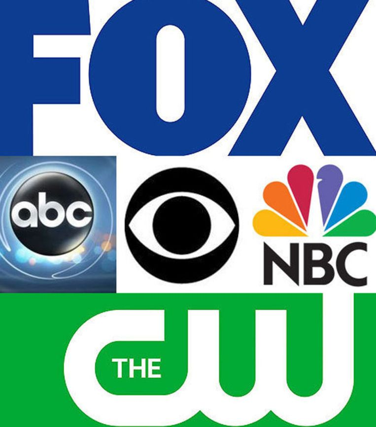 Logo's van de vijf grootste zenders in de Verenigde Staten, het mekka van de internationale tv-wereld, en dan met name de scripted reality, ofwel de tv-series. Beeld