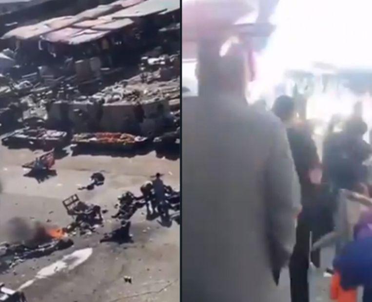 Volgens nog onbevestigde berichten vielen er 9 doden en 25 gewonden. Beeld Twitter