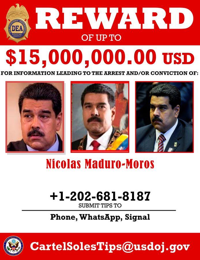 De VS hebben 15 miljoen dollar over voor informatie die leidt tot de aanhouding van Maduro.