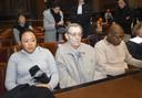 Céline, son grand-père (et époux de Marcelle) et David Mamadou Hendrickx (père de Céline) lors du procès de Junior Pashi (29 novembre 2010).