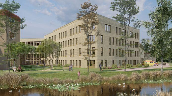 Impressie van de uitbreiding van ziekenhuis St Jansdal Harderwijk, waarin onder meer een grotere intensive care, een nieuwe verpleegafdeling voor kinderen en tieners en een afdeling voor de behandeling van oncologiepatiënten komen.