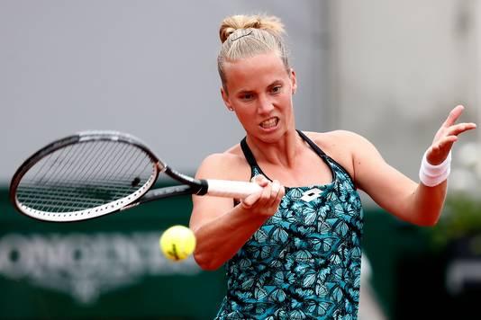 Richel Hogenkamp tijdens Roland Garros 2018.