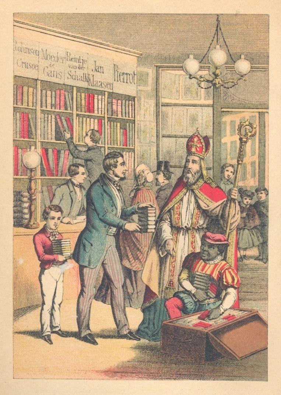 Illustraties uit Sint Nikolaas en zijn knecht van Jan Schenkman, een Amsterdamse onderwijzer die als een van de grondleggers van het Sinterklaasverhaal wordt beschouwd. Eind 19de eeuw. Beeld Collectie Koninklijke Bibliotheek