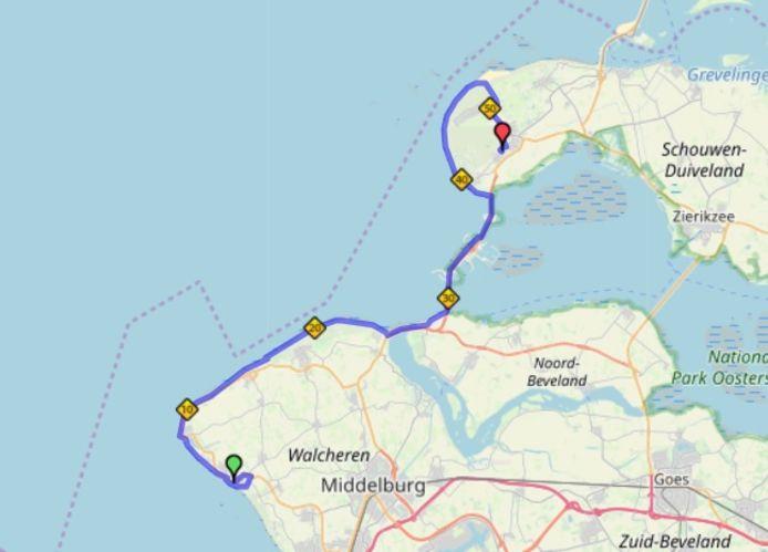 Het parcours van de  MTB-tocht.