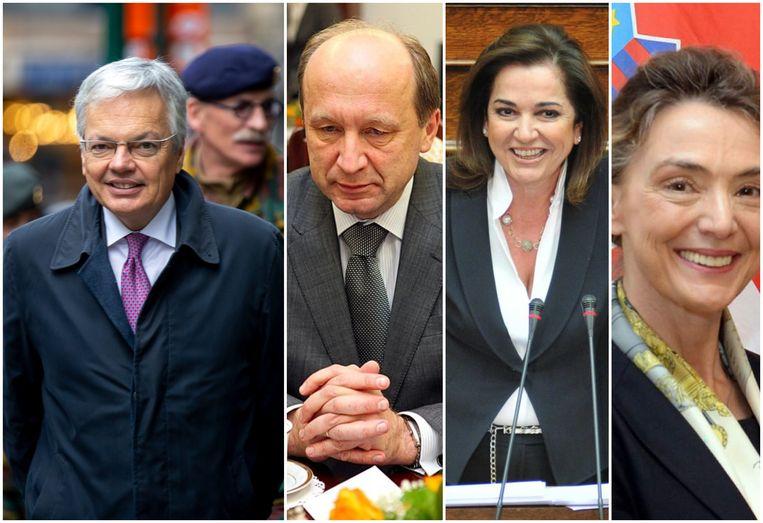 Minister van Buitenlandse Zaken Didier Reynders (l.) krijgt drie concurrenten voor de hoogste post bij de Raad van Europa: vlnr. Andrius Kubilius, Dora Bakoyannis en Marija Pejcinovic Buric. Beeld Belga/rv