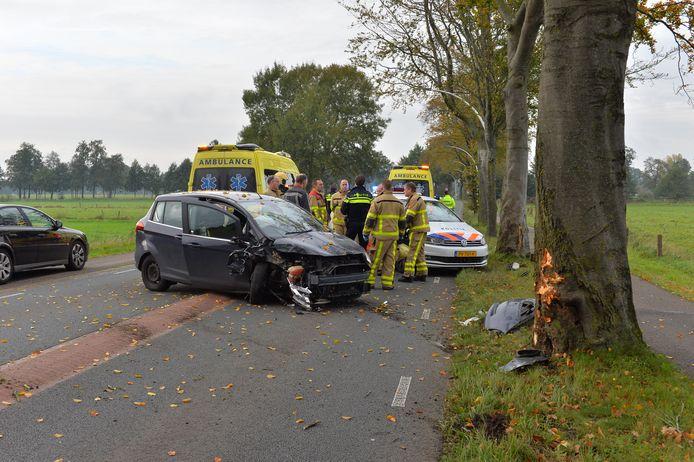 Een vrouw raakte gewond bij een crash tegen een boom op de Emsterweg in Vaassen.