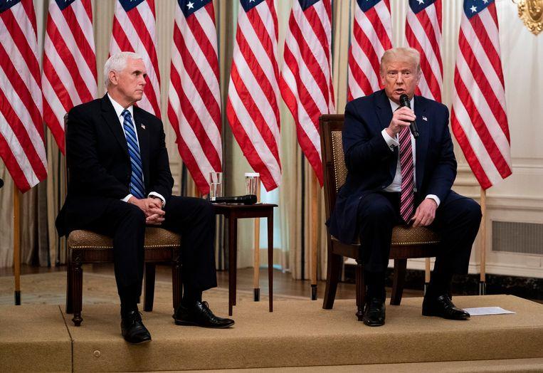 Donald Trump en running mate Mike Pence komen op voor de Republikeinen in deze verkiezingen. Beeld Photo News