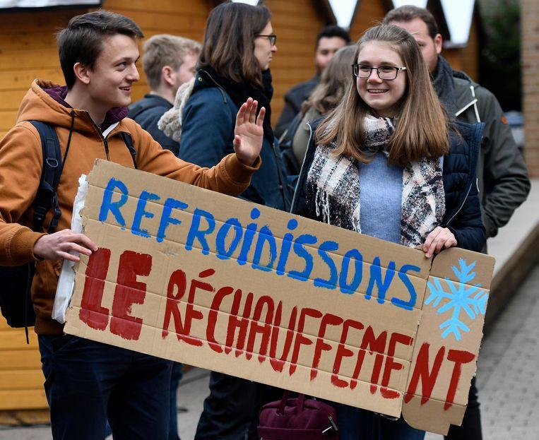 Actie van de studenten de de KUL in afwachting van de mars