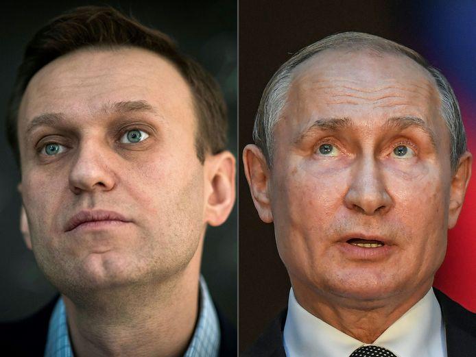Navalny (links) en de Russische president Poetin (rechts).