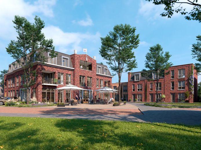 Het nieuwbouwcomplex Raadhuys in Geffen. De eigenaren van Cafe Boetje willen er een horecagelegenheid met terras realiseren.