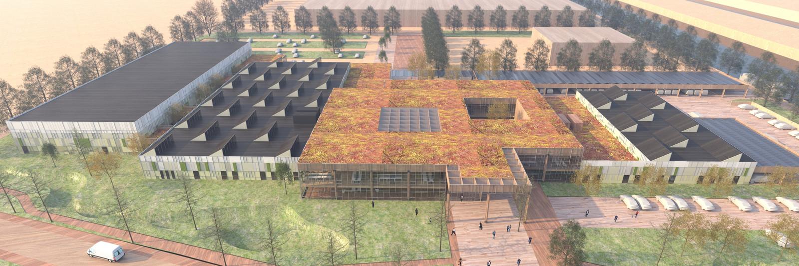 Het ontwerp van de nieuwbouw van WeenerXL aan de Oude Vlijmenseweg in Den Bosch. De bouw moet nog dit jaar beginnen en eind 2021 klaar zijn. Rechts de bezoekersparkeerpaatsen, links achterin het parkeerterrein voor personeel.