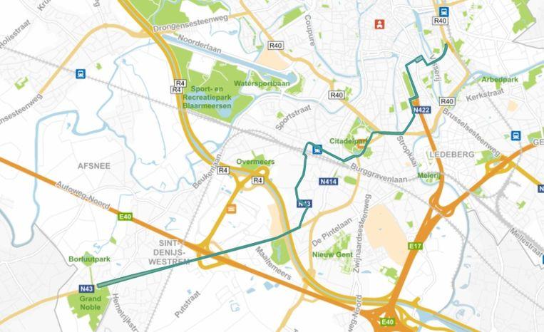 De Vlaamse overheid hoopt tegen 2025 een tram tussen Gent-Sint-Pieters en Gent-Dampoort te trekken. Ook het stukje tot Sint-Denijs-Westrem aan Portaal Grand Noble, dat aanvankelijk later gepland stond, wordt al uitgevoerd. Beeld RV