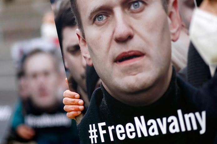 Een door Amnesty International georganiseerde demonstratie voor de vrijheid van oppositieleider Navalny.