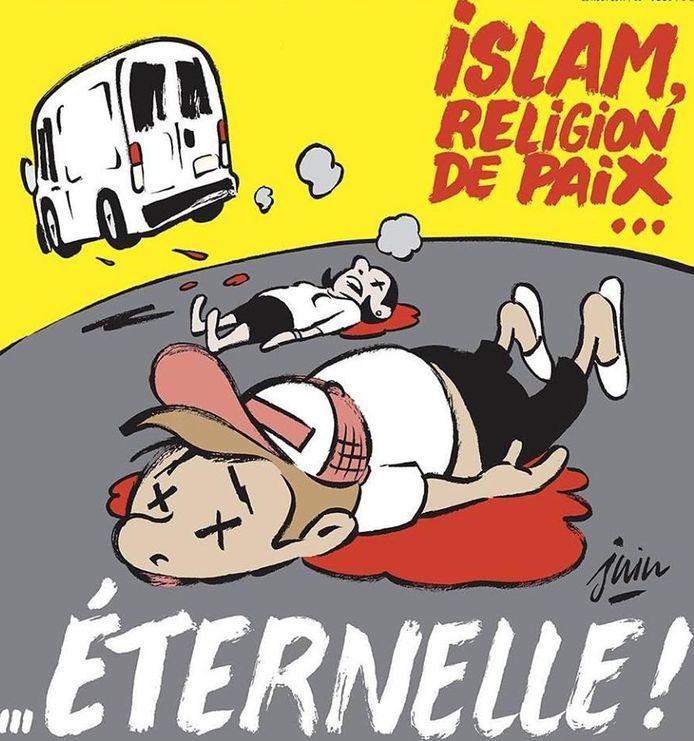 De cover van Charlie Hebdo: een witte bestelwagen gaat ervandoor nadat het enkele mensen heeft aangereden.