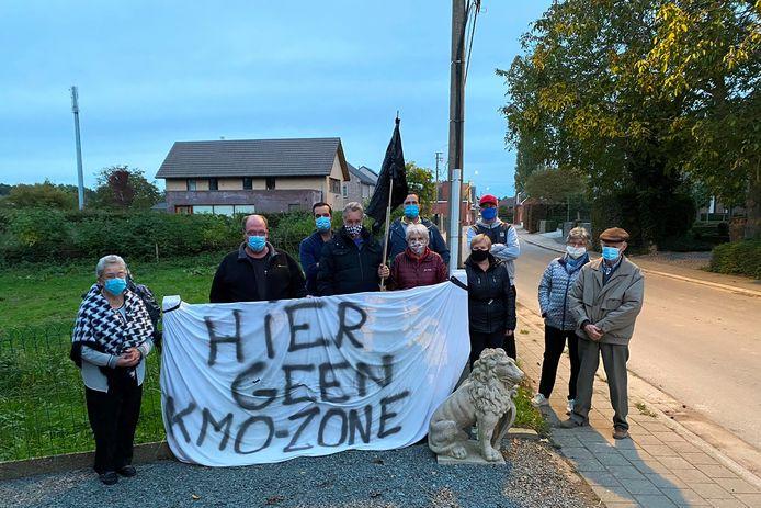 De inwoners van Stichelendries protesteerden in oktober 2020 nog tegen de komst van een KMO-zone in hun straat.