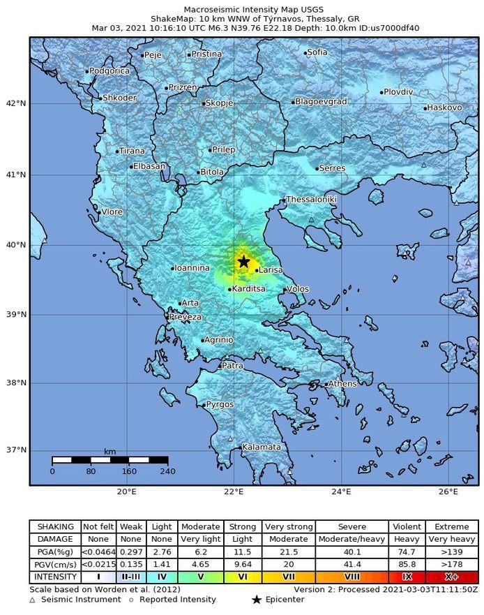 De aardbeving had een kracht van 6,3.