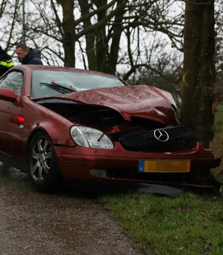 Auto botst tegen boom op Burensedijk in Zoelen