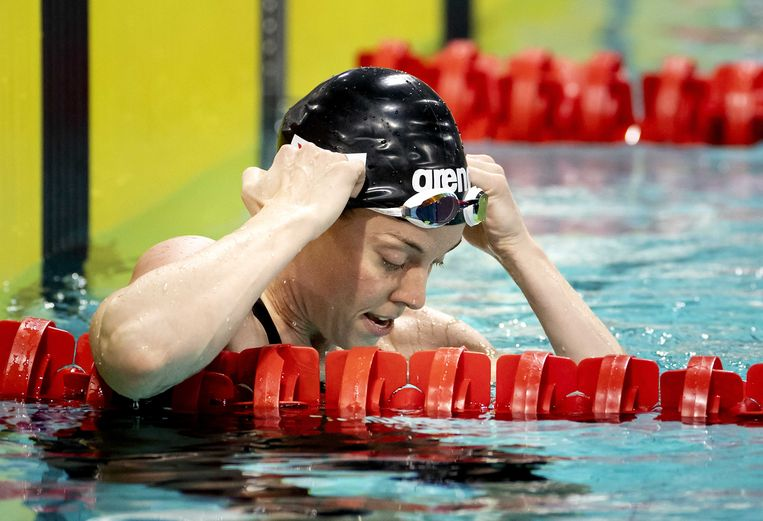Femke Heemskerk na haar succesvolle race in Eindhoven. Beeld ANP / Koen van Weel