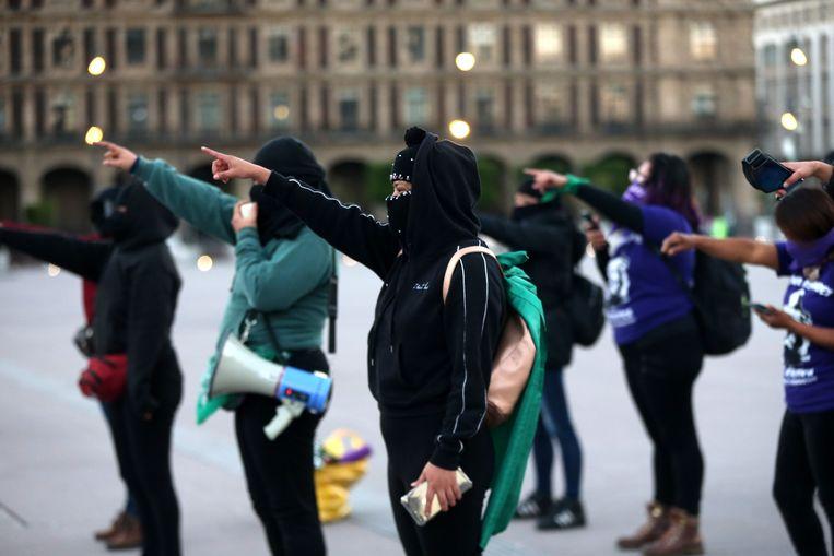 Straatprotest in Mexico-Stad eerder deze week tegen het kandidaatschap van Macedonio. Beeld EPA