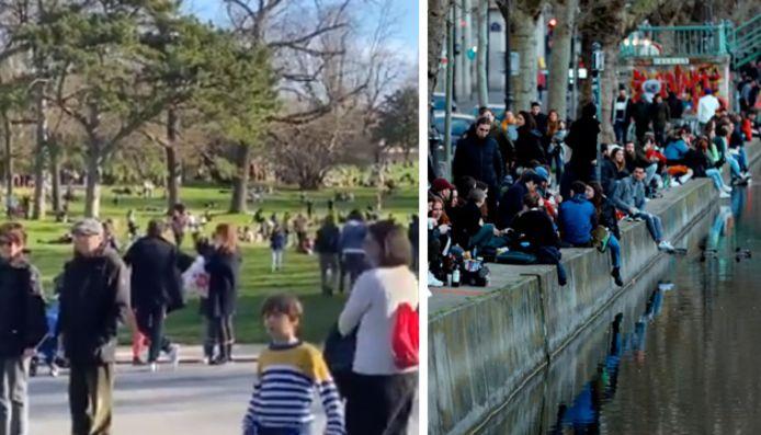 De nombreux Français, notamment à Paris, ont profité dimanche du soleil printanier pour se presser dans les parcs et jardins publics.