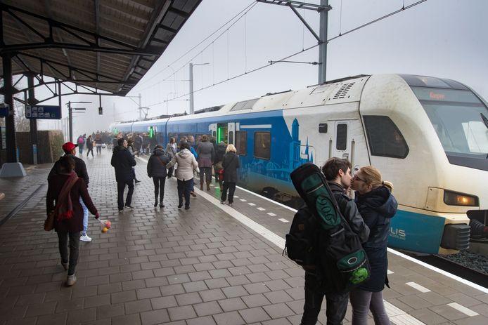 Reizigers stappen in op station Kampen.