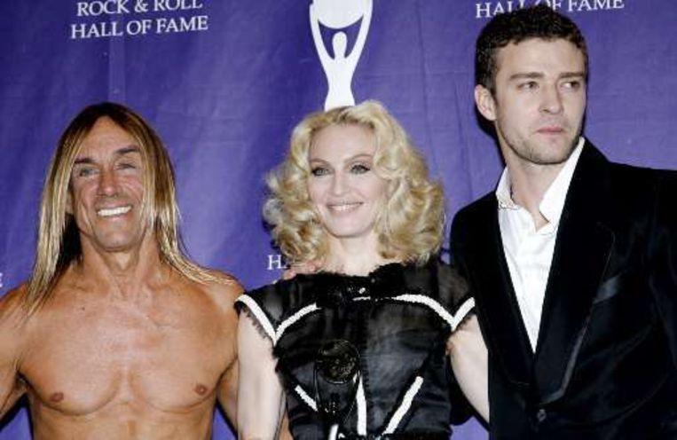 Madonna in het charmante gezelschap van Iggy Pop en Justin Timberlake. Beeld UNKNOWN